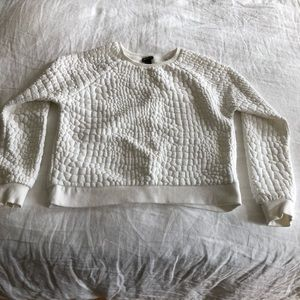 Forever 21 white textured crew neck sweatshirt (s)